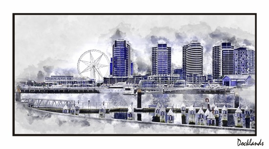 Docklands Watercolour Framed