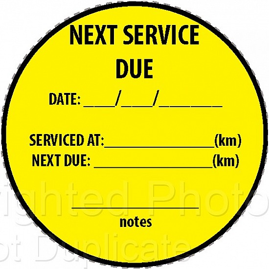 NEXT SERVICE DUE stickers,cut vinyl 50pc